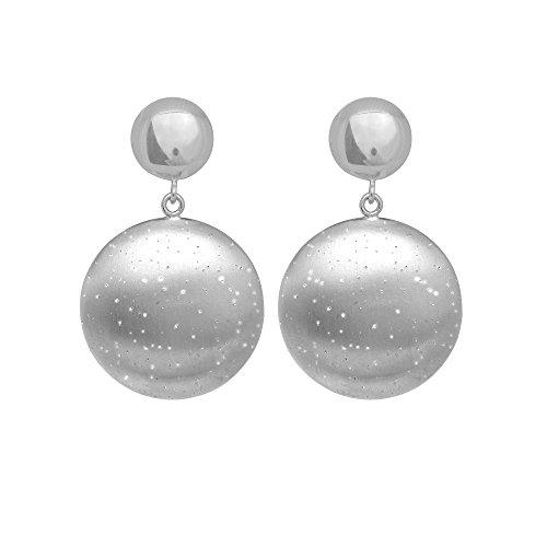 In argento Sterling placcato al rodio con polvere di diamante spazzolato finitura Disco Orecchini pendenti