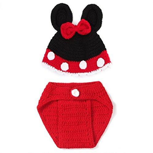 Baby Häkelkostüm Strick Kostüm Fotoshooting Fotos 2 tlg. Micky Minnie Maus BK049