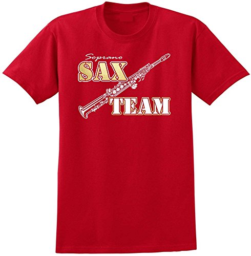 Saxophone Sax Soprano Team - Red Rot T Shirt Größe 87cm 36in Small MusicaliTee