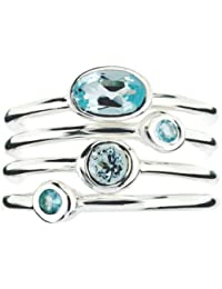 Dinny Hall Jaipur Silver and 22ct Gold Plated Blue Topaz Ring Set