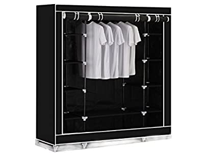 BLACK TRIPLE CANVAS CLOTHES WARDROBE CUPBOARD HANGING RAIL STORAGE WITH 11 SHELVES - 175 x 150 x 45cm ALSO AVAILABLE IN BEIGE AND RED.