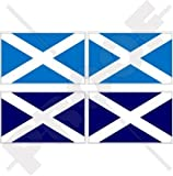 SCHOTTLAND Schottisch Flagge Großbritannien UK Saltire Andreaskreuz, 2 Farben Version 50mm Auto & Motorrad Aufkleber, x4 Vinyl Stickers
