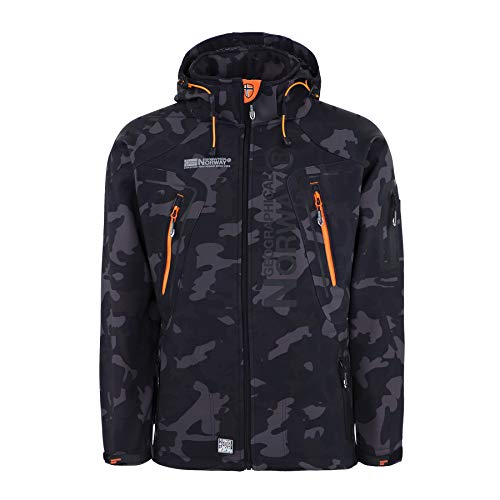 Geographical Norway Herren Softshell Outdoor Jacke Tambour/Taco/Techno abnehmbare Kapuze Black/orange XL