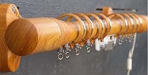 Set de Tringle à Rideaux Simple- Commande Unique Cordon- Finition Hêtre - 250 cm