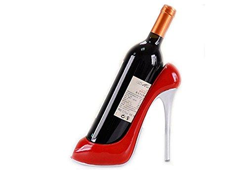 Support de Bouteille de Vin Style Chaussure à Talon Haut Décoration Bar Maison Cadeau Mariage (Rouge)
