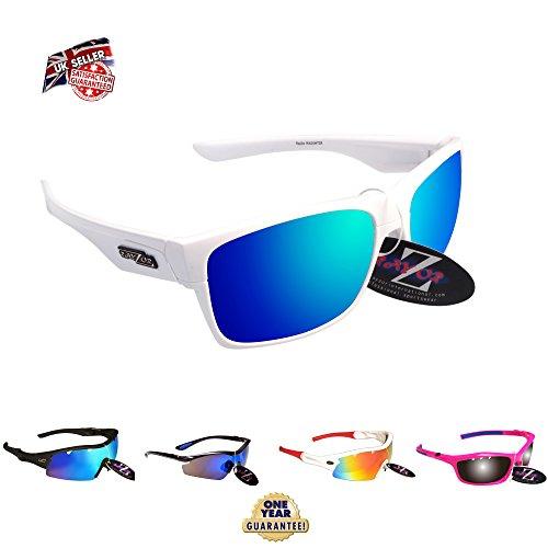 RayZor Professional leichte UV400White Sports Wrap Sailing Sonnenbrille, mit einem blau Iridium verspiegelt Blendfreie Objektiv