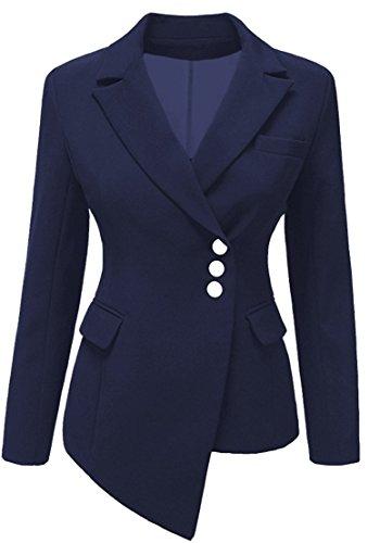 Ghope Damen Blazer Jacke Asymmetrisch Freizeit Schlank Business Jacken Drei Knopf Anzug ,Blau 36 (3-knopf-blazer-jacke)