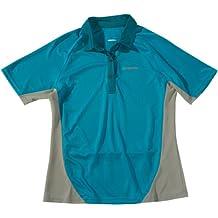 Shimano - Polo da donna aderente, a maniche corte, in cotone Jersey, Turchese (Blu-verde), L