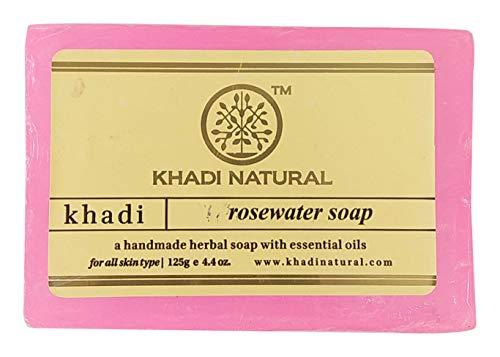 Khadi Natural Handmade Herbal Soap, Rosewater, 125g