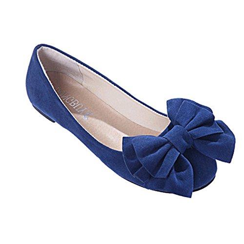chen-Beiläufige Suede Round Toe Ballerinas mit Bogen-Dekor Blau (Römisch-dekor)