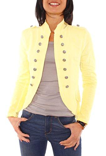Damen Vintage Uniform Military Admiral Style Sweat Jersey Blazer Sakko Jacke Kurz Knopfleiste Offen Einfarbig Gelb XS 34 (S)