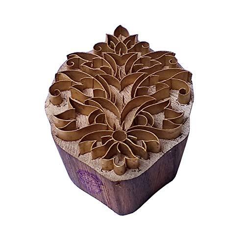 Royal Kraft Orientalisch Drucken Stempel Messing Blumen Designs Hölz Keramik Blöcke - Holz Ton Block