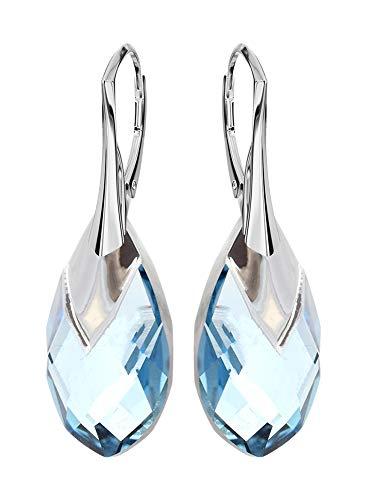 *beforya paris* novità - cappellino metallico - splendidi orecchini esclusivi - colore acquamarina - argento 925 bella orecchini da donna con cristalli di swarovski elements - meravigliosi orecchini
