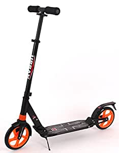 UKayed Urban City Commute Push Kick Black Scooter Foldable Modern Strong Solid Metal Design - Kids - Teens - Adults