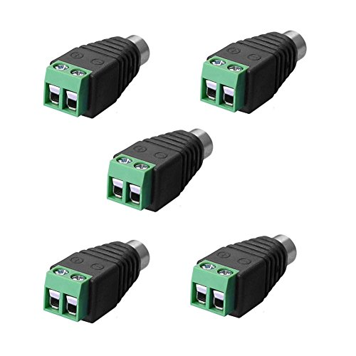 SIENOC SIENOC Adapter Terminalblock > Cinch Buchse RCA Adapter DC Block Schraubanschluss 2-Pin (5 Stück) Dc-block