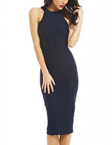 MODETREND Damen Kleid Elegant Strick Elastisch Stretch Kleiner Slim  Bleistiftkleid Sommerkleid Abendkleid Blau