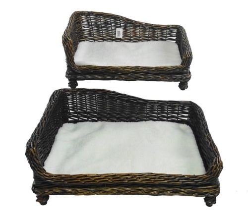 Large Big Huge XL Dogs Wicker Pet Bed Basket Seat Couch Padded Cushion