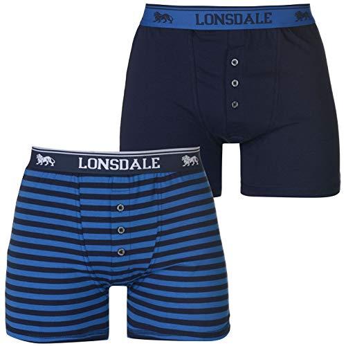 Lonsdale Herren 2er Pack Boxers Boxershorts Unterhose Knöpfe Marinefarbe/Stripe XXX Large -