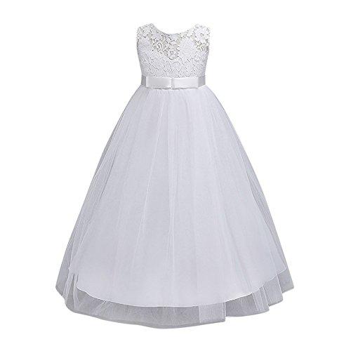Mädchen Kleid Rock ❤️SHOBDW Blume Kinder Mädchen Kleid Prinzessin Formale Festzug Urlaub Hochzeit Brautjungfer Kleid (140/ 7Jahr, Weiß)