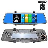 """QQHHJY 7"""" Dashcam specchietto retrovisore con Telecamera di retromarcia, Visione Notturna, G-Sensor, Registrazione in Loop, rilevamento di Movimento, Monitor di parcheggio, Aiuto al parcheggio"""