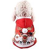 Dehots Weihnachts Kostüm Hunde Pullover Kundekostüm Hundejacke Hundemantel Winter für Kleine Hunde Haustier Hundewelpen Kleidung Weihnachten mit Kapuze Wintermantel/Winterjacke