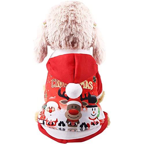 (Dehots Weihnachts Kostüm Hunde Pullover Kundekostüm Hundejacke Hundemantel Winter für Kleine Hunde Haustier Hundewelpen Kleidung Weihnachten mit Kapuze Wintermantel/Winterjacke)