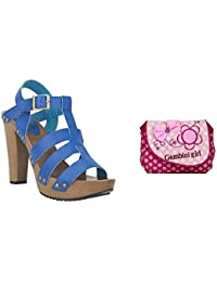 Estatos Pattern Leather Open Toe Buckle Closure Block Wooden Heel Blue Gladiator Sandals With Pink Printed Sling...