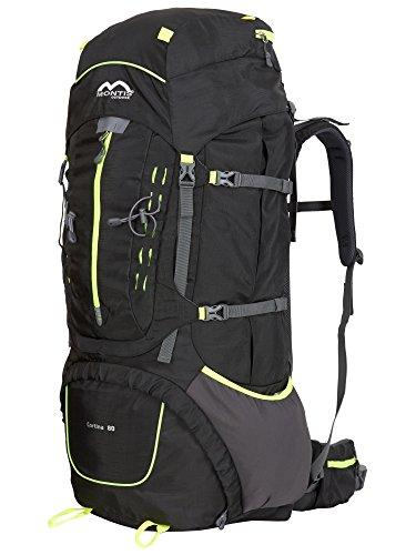MONTIS CORTINA 80 Unisex Trekking-Rucksack, Wander-Rucksack & Reise-Rucksack in einem, ermöglicht dank Regenschutz auch Bike- & Campingtouren, moderner Look mit Wirbelsäulenentlastung & Belüftungssystem