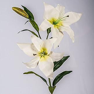 artplants.de Lirio Artificial con 2 Flores, Blanco, 95cm, Ø 15cm – Flor Decorativa – Planta sintética