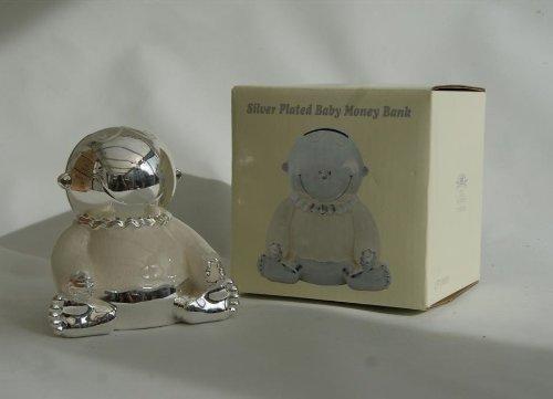 Cadeau de baptême Plaqué argent Crème émaillé bébé Tirelire - Tirelire Leonardo Collection