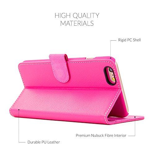 Cover iPhone 6 Plus e 6S Plus, Snugg Apple iPhone 6 Plus e 6S Plus Flip Custodia Case [Slot Per Schede] Pelle Portafoglio Progettazione Esecutiva [Garantita a Vita] - Rosa scuro, Legacy Range Rosa