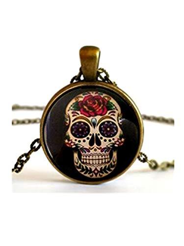 JUN Sugar Skull Blume Augen Skelett Halskette Anhänger Dome Glas Schmuck, Pure Handgefertigt