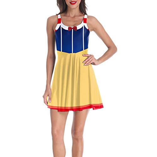 Amcool 2019 Halloween Horror Kleid Damen Ärmellos Rundhals Blutige Zombie Blut Befleckt Kleider Kurz Abendkleid Kostüm Karneval Fasching (Pin Up Zombie Kostüm)