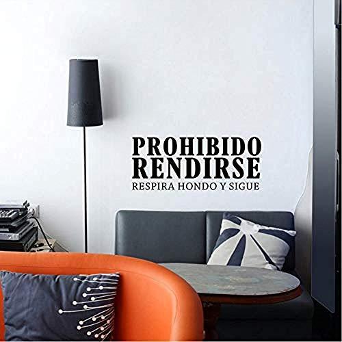 ttymei Citas inspiradoras en español Prohibido Rendirse Vinilo Adhesivos de pared Dormitorio Oficina Motivación Palabras Letras Murales 57X23cm