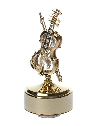 Violino, placcato oro 24 k, con cristalli swarovski, statuina, girevole, con carillon