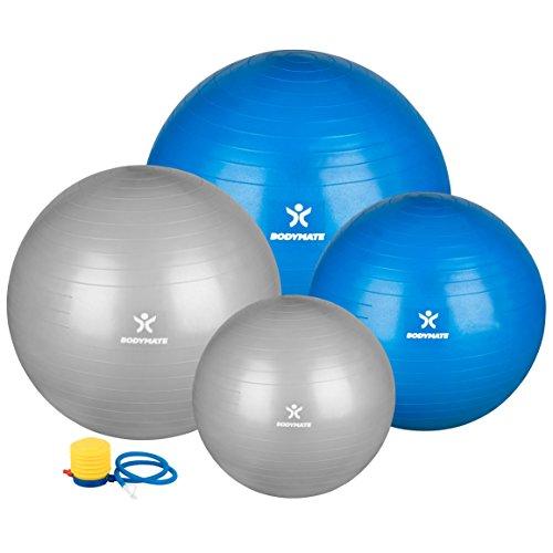 BODYMATE Ballon de gymnastique/ Ballon fitness - BLEU 65cm - Ballon de yoga premium pour yoga & pilates core-training avec pompe incluse - supporte jusqu'à 300kg, disponible en taille 55, 65, 75, 85cm