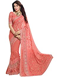 4b14108eccf Craftsvilla Chiffon Saree with Blouse Piece (FKMS207-9004 Peach Peach Free  Size)