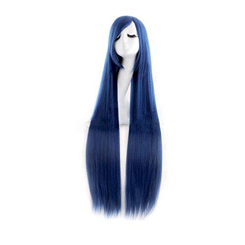en Cosplay Lange Gerade Perücke Haarteil Gekippte Frisette Blau + Schwarz (Schwarze Mädchen Perücken)