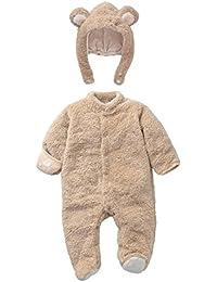 Mamelucos Bebé-Disfraz Bebé Animales Pelele Invierno Frenela con Gorro Desmontable, Beige 3-6 Meses