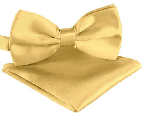 Fliege Schleife in helles Gold verstellbar Unisex für Herren Damen Jugendliche + Einstecktuch in helles Gold