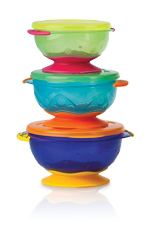 Nuby Stackable Suction Bowl with Lid (Pack of 3, Multi-Coloured) 41uPSzhnSCL