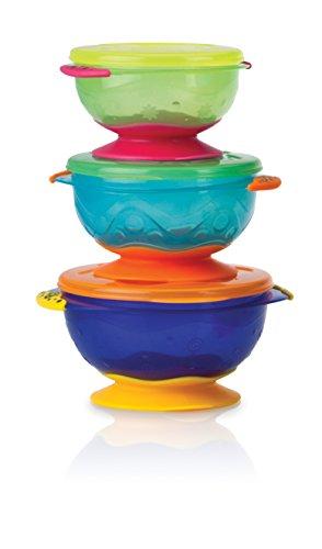 Nuby Ciotola impilabile con coperchio e ventosa confezione da 3 multicolore