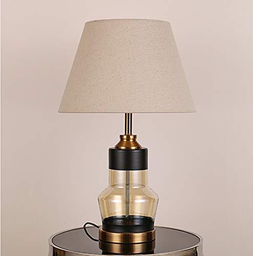 Moderne Metall-basis (ZIXUAA Moderne Glas Metall Basis Nachttischlampe, Nachttischlampe und Stoff Trommel Lampenschirm Schlafzimmer-B)