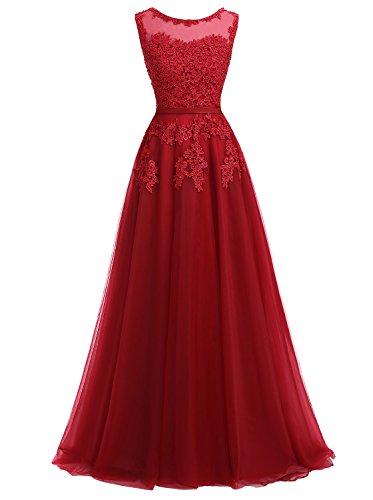 Ever Love A-Linie Lang Spitze T¨¹ll R¨¹ckenfrei Abendkleid Ballkleid Hochzeit Brautjungfernkleid mit Tr?ger Dunkelrot 36