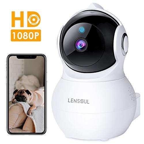 Lensoul Cámara IP WiFi, 1080P HD Cámara de Vigilancia Inalámbrico Interior con Visión Nocturna, Soporte Detección de Movimiento, HiFi Audio de Dos Maneras con Micrófono y Altavoz (Blanco)