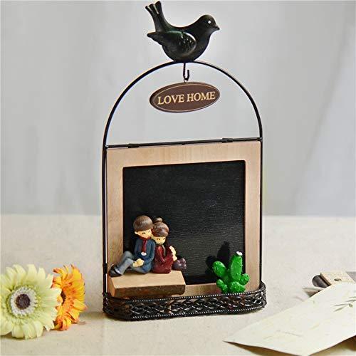 DAJIADS Statuen,Retro Cafe Bar Bekleidung Shop Harz Holz Dekoration Schmuck Love Message Board Eisen Harz Geschenke - Keramik-message Board