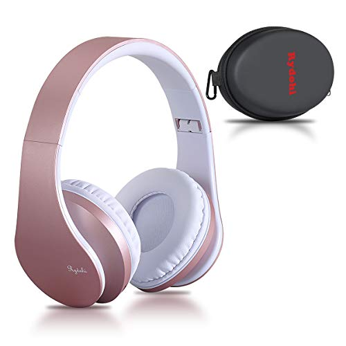 Bluetooth Over Ear Kopfhörer, Rydohi Wireless Stereo Headset Klappbares Kopfhörer mit Integriertem Mikrofon/FM Radio /MP3 Player für iPhone, Android, PC - Rose Gold Rosa Wireless Headset