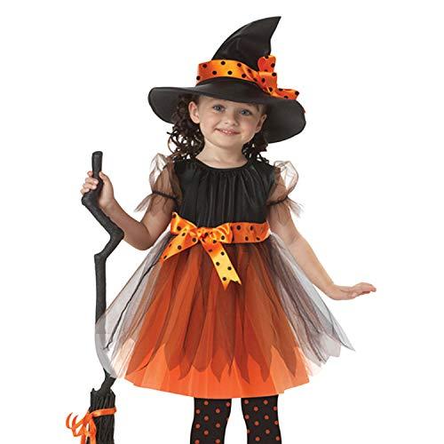De feuilles Halloween Hexe Kostüm für Kinder Mädchen Kinderkostüm Hexe Kleid mit Hut Größe:90-120