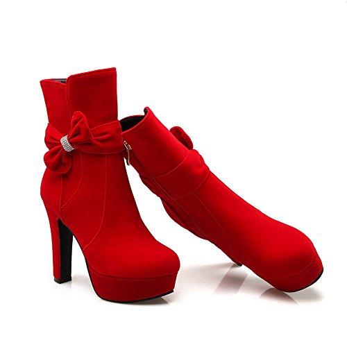 AllhqFashion Damen Reißverschluss Hoher Absatz Mattglasbirne Rein Niedrig-Spitze Stiefel Rot