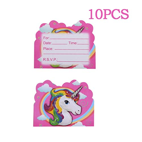 Bongles Thema-Partei-Geburtstags-Party-Dekoration 10pcs Party-Einladung Einhorn Einhorn Einhorn-Karten-Dekoration (Kleine Mädchen Geburtstag Themen)
